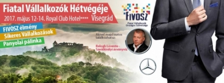 Fiatal Vállalkozók Hétvégéje Balogh Leventével (Szentkirályi Ásványvíz) május 12-14., Visegrád